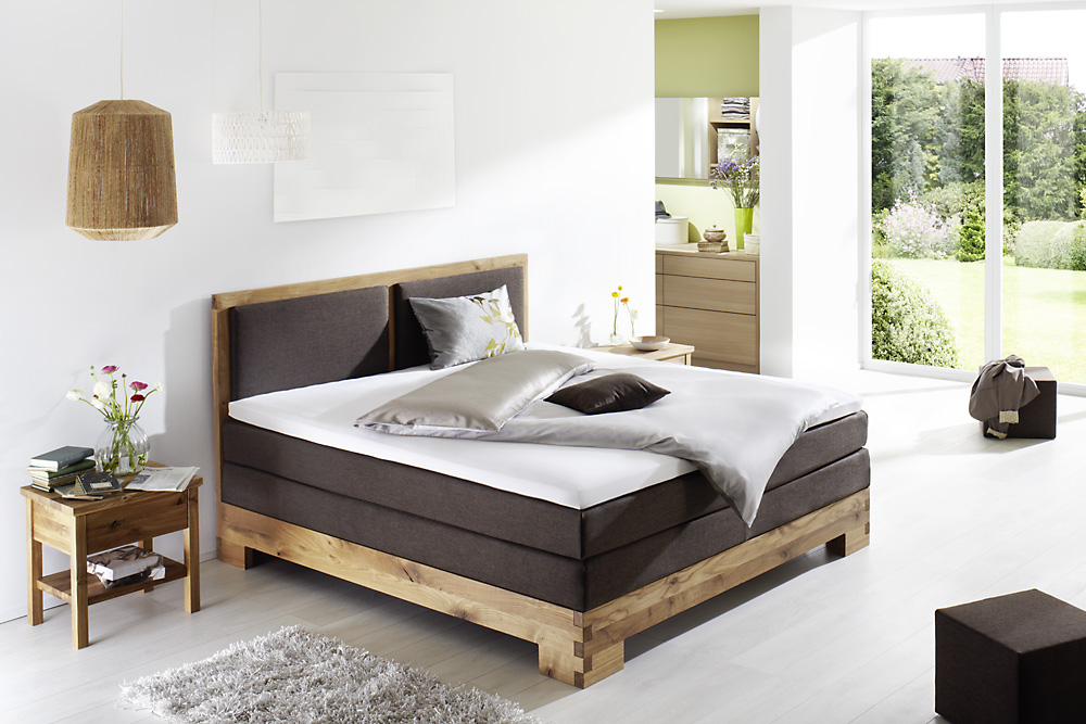 boxspringbett ausstellungsst ck massivholz wildeiche stoff latex topper ebay. Black Bedroom Furniture Sets. Home Design Ideas