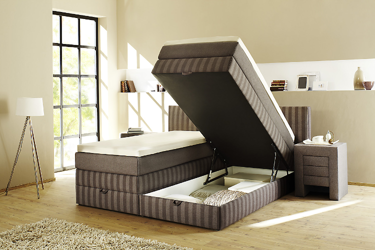 boxspringbett box mit bettkasten tfk polsterbett hotelbett bett gr e 160 200 ebay. Black Bedroom Furniture Sets. Home Design Ideas