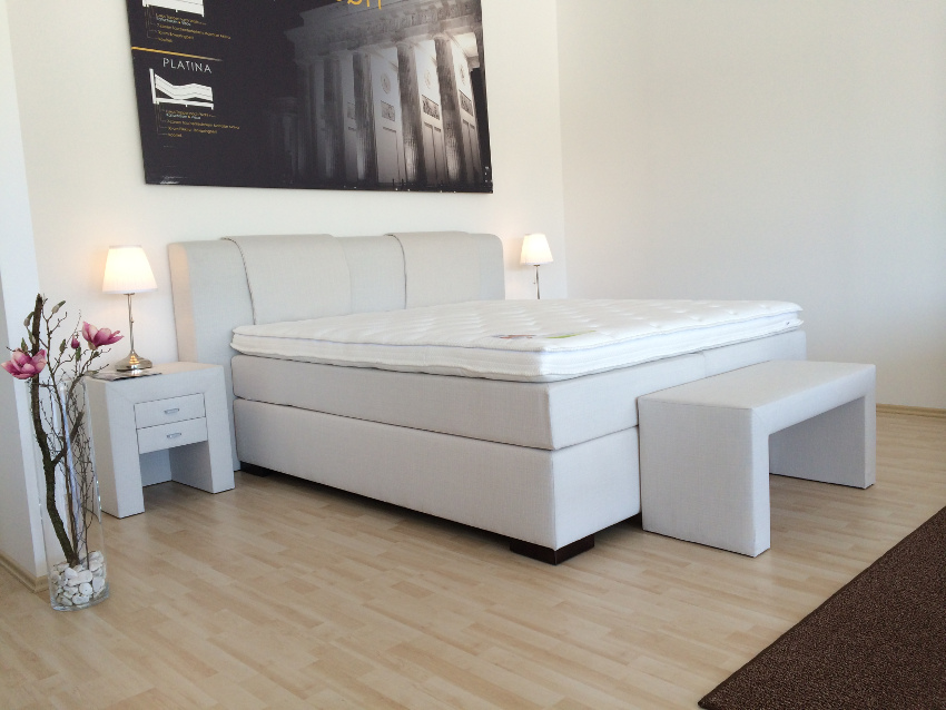 ausstellung luxus boxspringbett spiroplex inkl nachtkonsolen fu bank 180 200 ebay. Black Bedroom Furniture Sets. Home Design Ideas