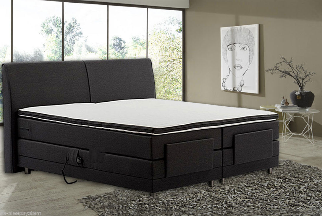 boxspringbett chapeau 160 200 cm anthrazit elektrisch verstellbar ebay. Black Bedroom Furniture Sets. Home Design Ideas